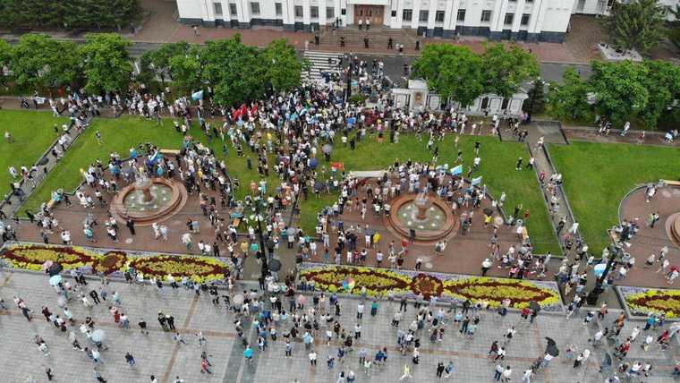 На митинг в поддержку Фургала пришло 3,5 тысячи человек. Это вдвое меньше, чем раньше. ВИДЕО